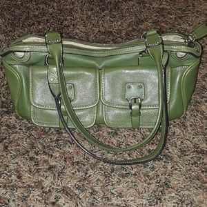 Fossil Small Handbag Baguette Green Leather